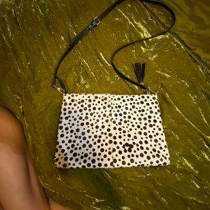 Vegan Fur / Hair Cross Body Bag or Clutch B&W